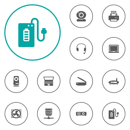 earpiece: Set Of 12 Notebook Icons Set.Collection Of Supply, Datacenter, Show And Other Elements. Illustration