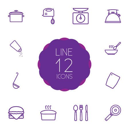 Set Of 12 Cooking Outline Icons Set.Collection Of Soup, Mixer, Salt And Other Elements. Иллюстрация