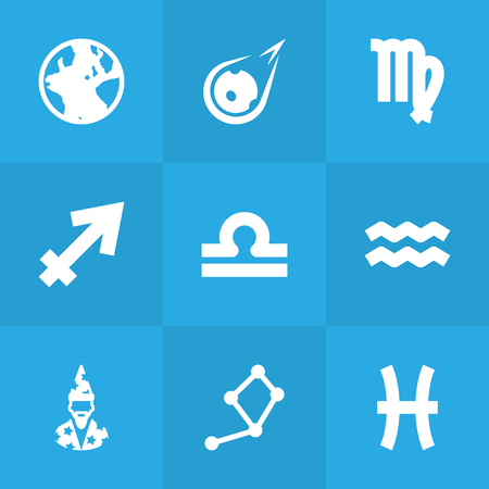 Set Of 9 Galaxy Icons Set.Collection Of Fishes, Earth Planet, Augur And Other Elements.