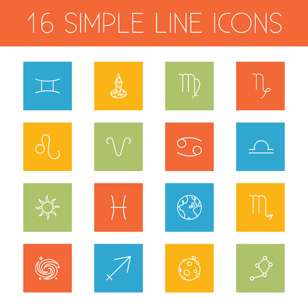 Set Of 16 Astrology Outline Icons Set.Collection Of Aries, Gemini, Constellation And Other Elements.