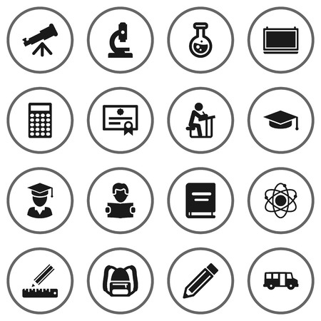 Set Of 16 Studies Icons Set.Collection Of Pencil, Calculate, Rucksack And Other Elements. Illustration