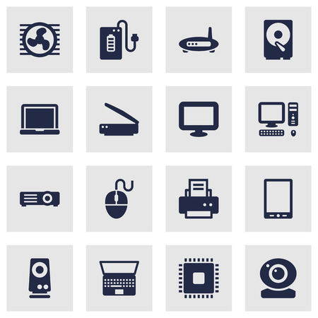 Set Of 16 Computer Icons Set.Collection Of Amplifier, Laptop, Display And Other Elements.
