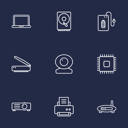 Set Of 9 Computer Outline Icons Set.Collection Of Modem, Powerbank, Cpu And Other Elements. Stock Vector - 78509588