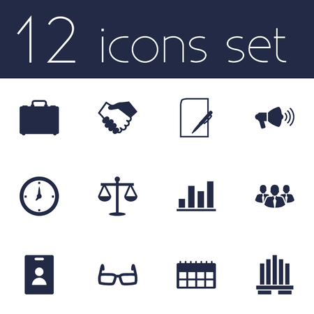condo: Set Of 12 Employment Icons Set.Collection Of Spectacles, Speaker, Id Card And Other Elements. Illustration