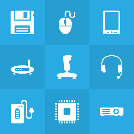 palmtop: Set Of 9 Laptop Icons Set.Collection Of Palmtop, Joystick, Router And Other Elements. Illustration