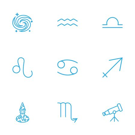Set Of 9 Astronomy Outline Icons Set.Collection Of Astrologer, Sagittarius, Aqurius And Other Elements. Illustration