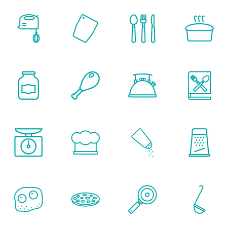 rasp: Set Of 16 Culinary Outline Icons Set.Collection Of Cutlery, Hat, Scales And Other Elements.