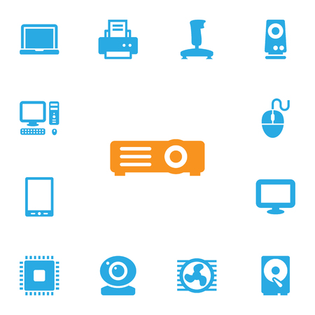 palmtop: Set Of 13 Laptop Icons Set.Collection Of Palmtop, Hard Disk, Show And Other Elements.