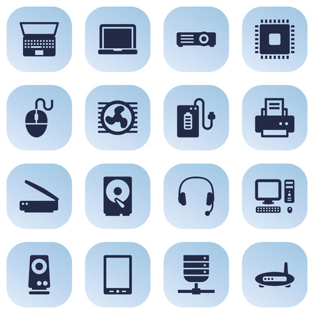 Set Of 16 Laptop Icons Set.Collection Of Hard Disk, Show, Microprocessor And Other Elements.