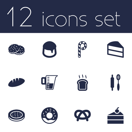 Set Of 12  Icons Set.Collection Of Sweetmeat, Shortcake, Measurement And Other Elements.