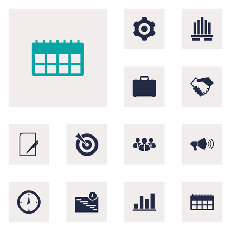 note paper: Set Of 12 Employment Icons Set.Collection Of Building, Mechanism, Goal And Other Elements.