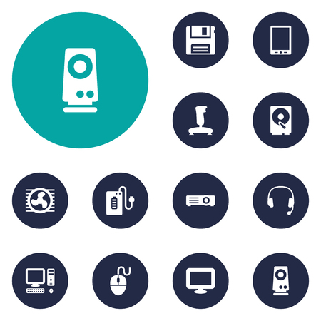 palmtop: Set Of 12 Laptop Icons Set.Collection Of Amplifier, Palmtop, Supply And Other Elements. Illustration