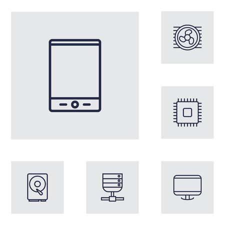 hdtv: Set Of 6 Notebook Outline Icons Set.Collection Of Cpu, Cooler, Tablet And Other Elements. Illustration