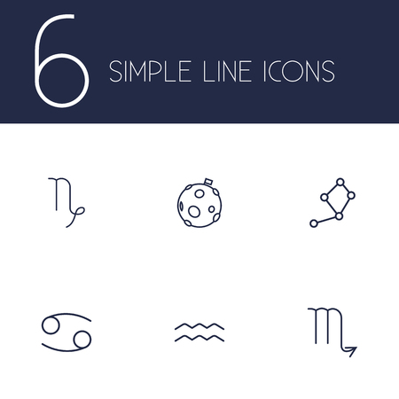sea goat: Set Of 6 Horoscope Outline Icons Set.Collection Of Constellation, Moon, Cancer And Other Elements.