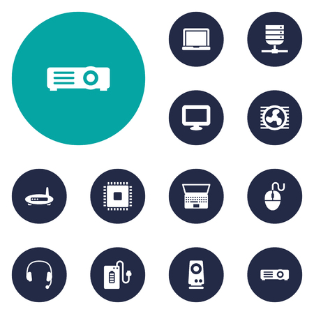 Set Of 12 Computer Icons Set.Collection Of Headset, Notebook, Display And Other Elements.