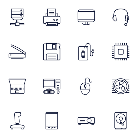 computerized: Set Of 16 Computer Outline Icons Set.Collection Of Floppy, Headphone, Cpu And Other Elements.
