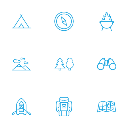 Set Of 9 Camping Outline Icons Set.Collection Of Gps, Rubber Boat, Compass And Other Elements.