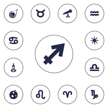 Set Of 13 Horoscope Icons Set.Collection Of Solar, Scales, Augur And Other Elements.
