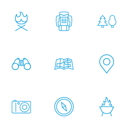 hiking: Set Of 9 Adventure Outline Icons Set.Collection Of Grill, Photographing, Binoculars And Other Elements.