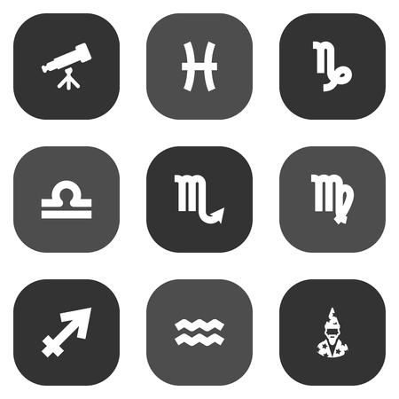 Set Of 9 Galaxy Icons Set.Collection Of Virgin, Water Bearer, Archer And Other Elements. Illustration