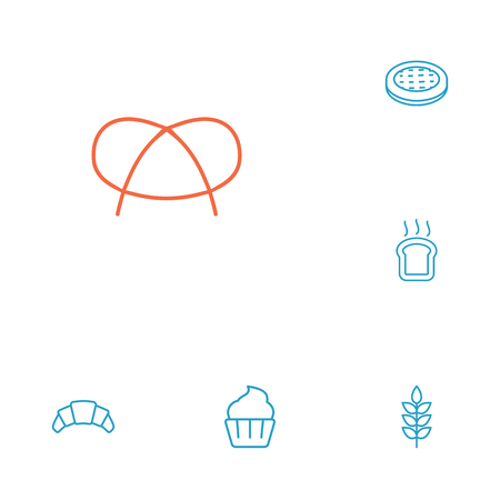 Set Of 6 Bakery Outline Icons Set.Collection Of Pretzel, Wheat, Cupcake And Other Elements.