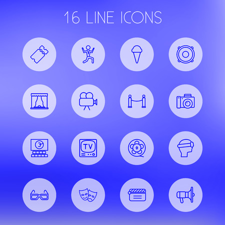comedy: Set Of 16 Amusement Outline Icons Set.Collection Of Film Role, Theater, Masks And Other Elements.