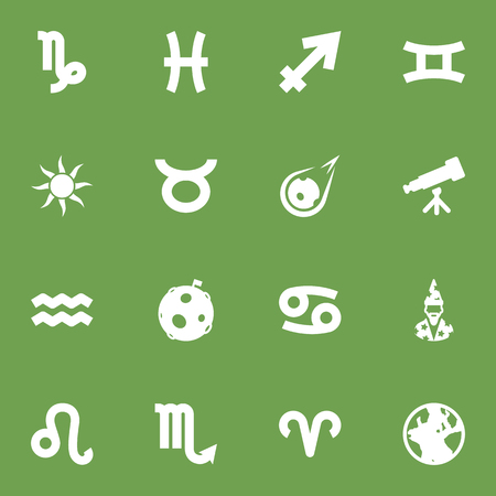astrologer: Set Of 16 Astronomy Icons Set.Collection Of Binoculars, Bull, Lunar And Other Elements. Illustration