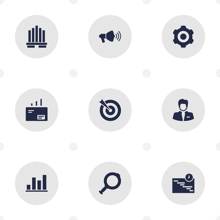 controlling: Set Of 9 Employment Icons Set.Collection Of Diagram, Building, Graph And Other Elements.