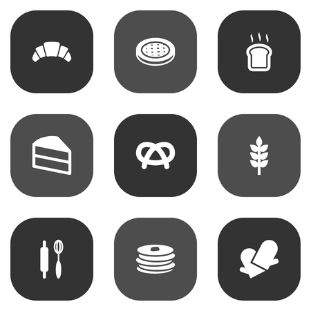 Set Of 9 Stove Icons Set.Collection Of Crepe, Slice Bread, Cake And Other Elements.