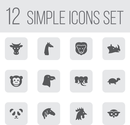 kine: Set Of 12 Brute Icons Set.Collection Of Rhinoceros, Ape, Night Fowl And Other Elements. Illustration