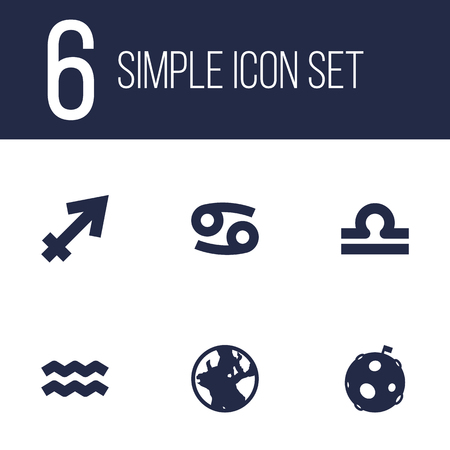 Set Of 6 Galaxy Icons Set.Collection Of Lunar, Crab, Water Bearer And Other Elements.