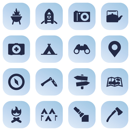 hiking: Set Of 16 Picnic Icons Set.Collection Of Jackknife, Optical Zoom, Camp And Other Elements. Illustration