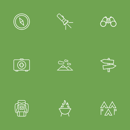 rocky road: Set Of 9 Outdoor Outline Icons Set.Collection Of Encampment, Binoculars, Compass And Other Elements.