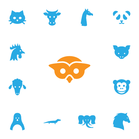 kine: Set Of 13 Brute Icons Set.Collection Of Diver, Ape, Steed And Other Elements.