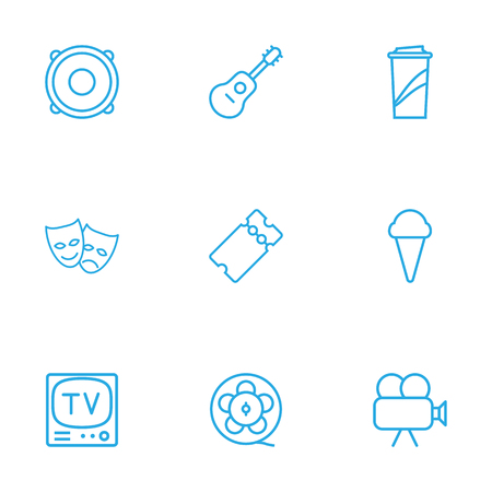 movie theater: Set Of 9 Amusement Outline Icons Set.Collection Of Tv Set, Ticket, Guitar And Other Elements.