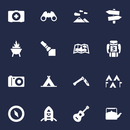 Set Of 16 Camping Icons Set.Collection Of Backpack, Kettle, First Aid Box And Other Elements.