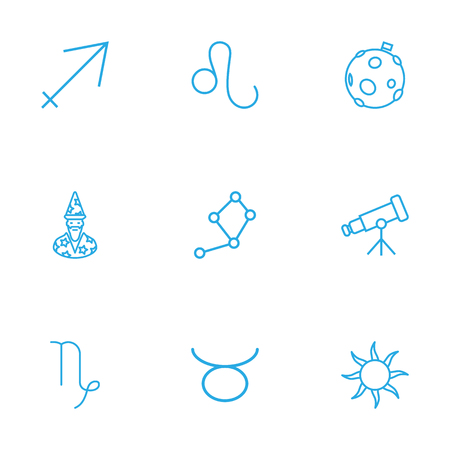 Set Of 9 Astronomy Outline Icons Set.Collection Of Constellation, Telescope, Astrologer And Other Elements. Illustration