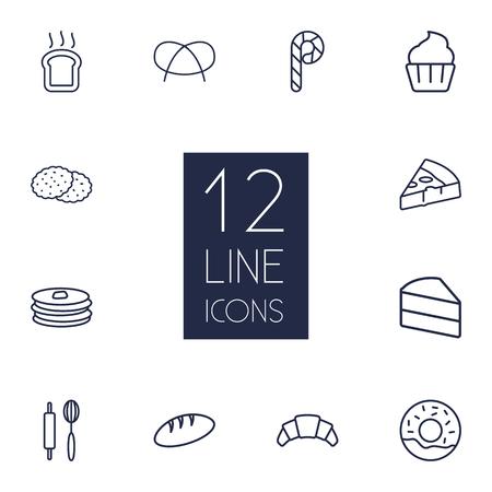 Set von 12 Umriss-Icons Set.Collection Of Pizza, Cupcake, Croissant und andere Elemente.