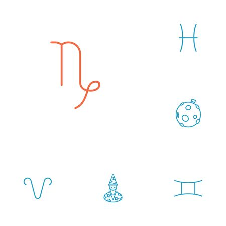 astrologer: Set Of 6 Galaxy Outline Icons Set.Collection Of Capricorn, Astrologer, Gemini And Other Elements.