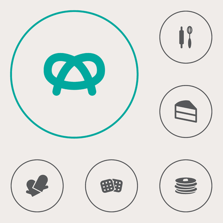 Set Of 6 Stove Icons Set.Collection Of Crepe, Whisk, Snack And Other Elements.