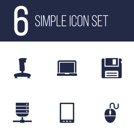 palmtop: Set Of 6 Computer Icons Set.Collection Of Datacenter, Palmtop, Joystick And Other Elements.
