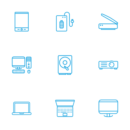 typesetter: Set Of 9 Notebook Outline Icons Set.Collection Of Projector, Hdd, PC And Other Elements.