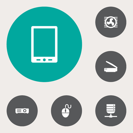 palmtop: Set Of 6 Laptop Icons Set.Collection Of Fan, Show, Palmtop And Other Elements.