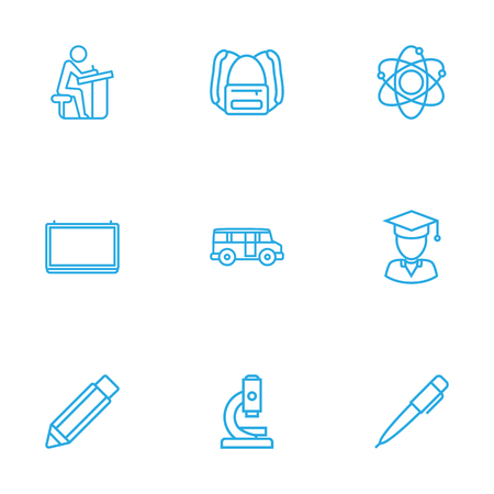 Set Of 9 Studies Outline Icons Set.Collection Of School Board, Backpack, Bus And Other Elements. Illustration