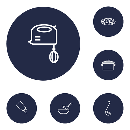 plate: Set Of 6 Kitchen Outline Icons Set.Collection Of Pizza, Soup, Mixer And Other Elements.