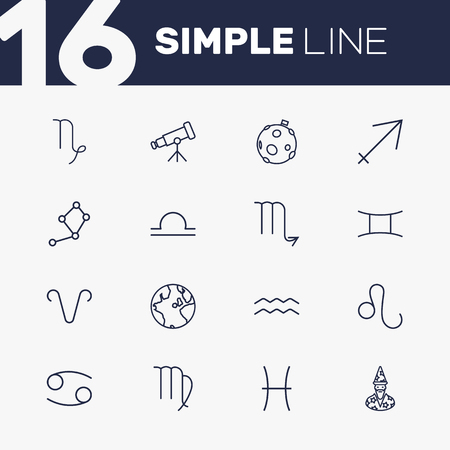 Set Of 16 Astronomy Outline Icons Set.Collection Of Libra, Globe, Pisces And Other Elements. Illustration