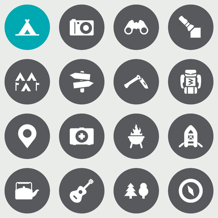 Set Of 16 Picnic Icons Set. Collection Of Optical Zoom, Magnet Navigatior, Location And Other Elements. Stock Vector - 78595015