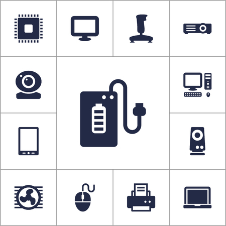 palmtop: Set Of 13 Computer Icons Set.Collection Of Palmtop, Display, Show And Other Elements. Illustration