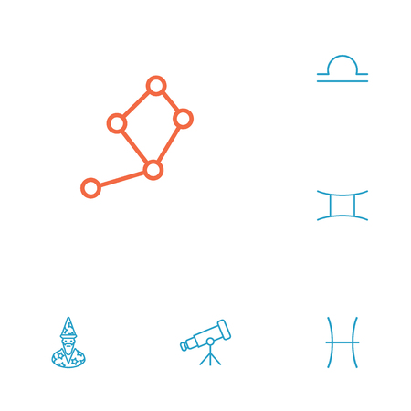 Set Of 6 Horoscope Outline Icons Set.Collection Of Pisces, Gemini, Libra And Other Elements.