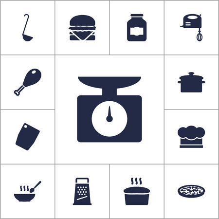 rasp: Set Of 13 Kitchen Icons Set.Collection Of Jar, Saucepan, Poultry Foot And Other Elements. Illustration